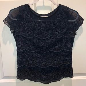 Navy Sheer Floral Lace Overlay Top